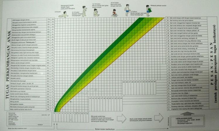 KKA - tampak belakang. grafik menunjukan titik-titik perkembangan balita yang harus dicapai  (HS.2012)